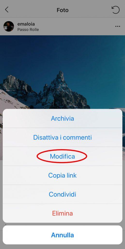 instagram testo alternativo