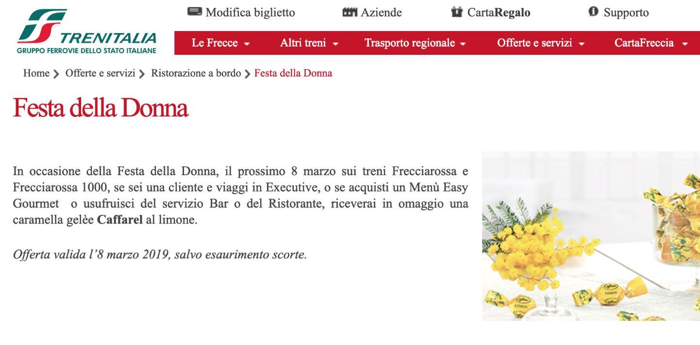 Trenitalia scatena l'ironia dei social regalando alle donne una caramella per l'8 marzo