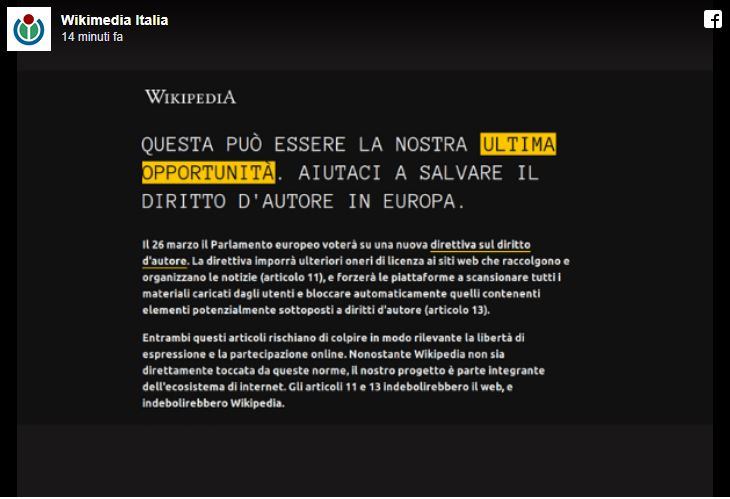 Wikipedia ci ha spiegato perché si è oscurata per protesta contro la legge europea sul copyright