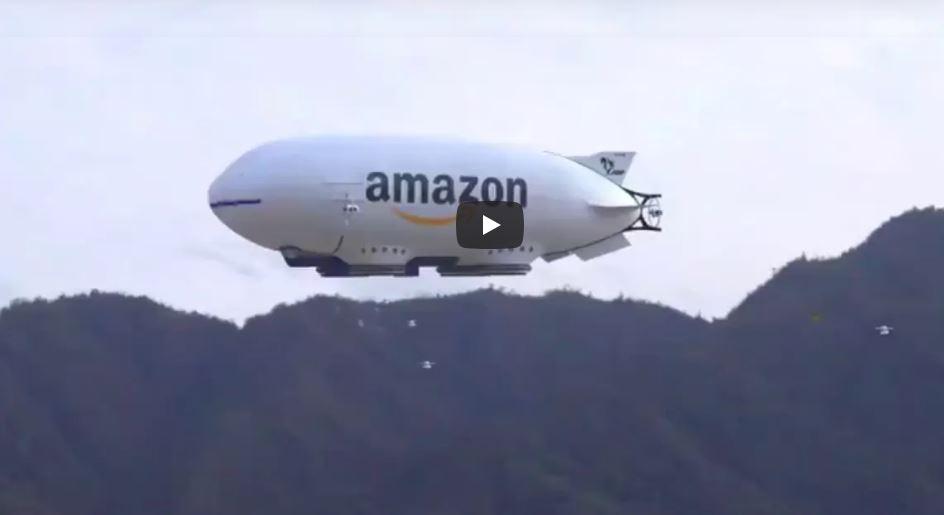 Amazon potrebbe consegnare i suoi pacchi con droni che scendono da un dirigibile