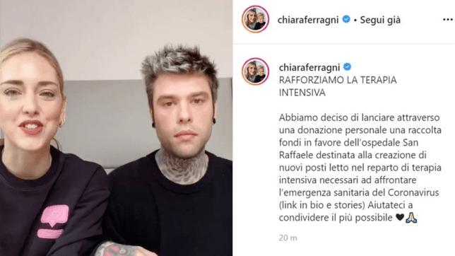 Coronavirus: il crowdfunding lanciato da Chiara Ferragni e Fedez supera i 3 milioni di euro
