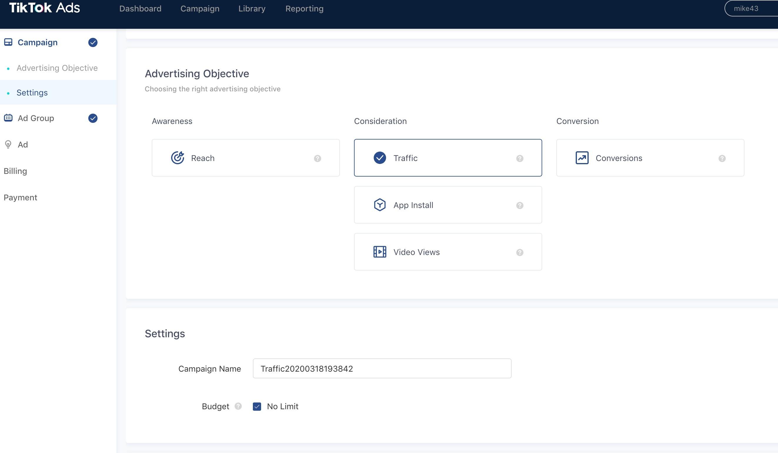 creazione del pubblcio sulla piattaforma