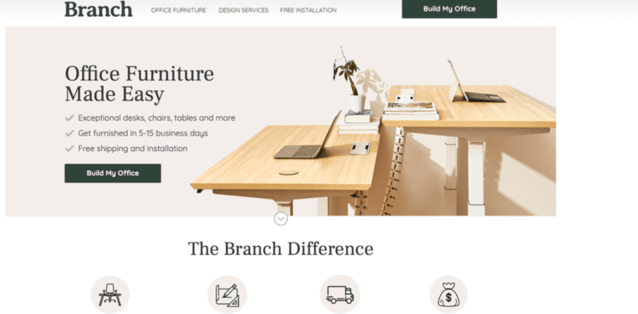 Landing Page Branch Furniture