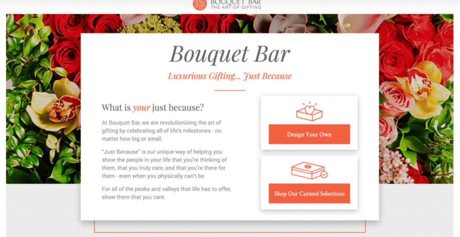 Landing Page Bouquet Bar