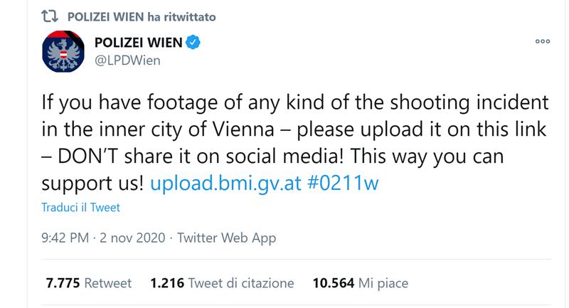 Tweet della Polizia di Vienna
