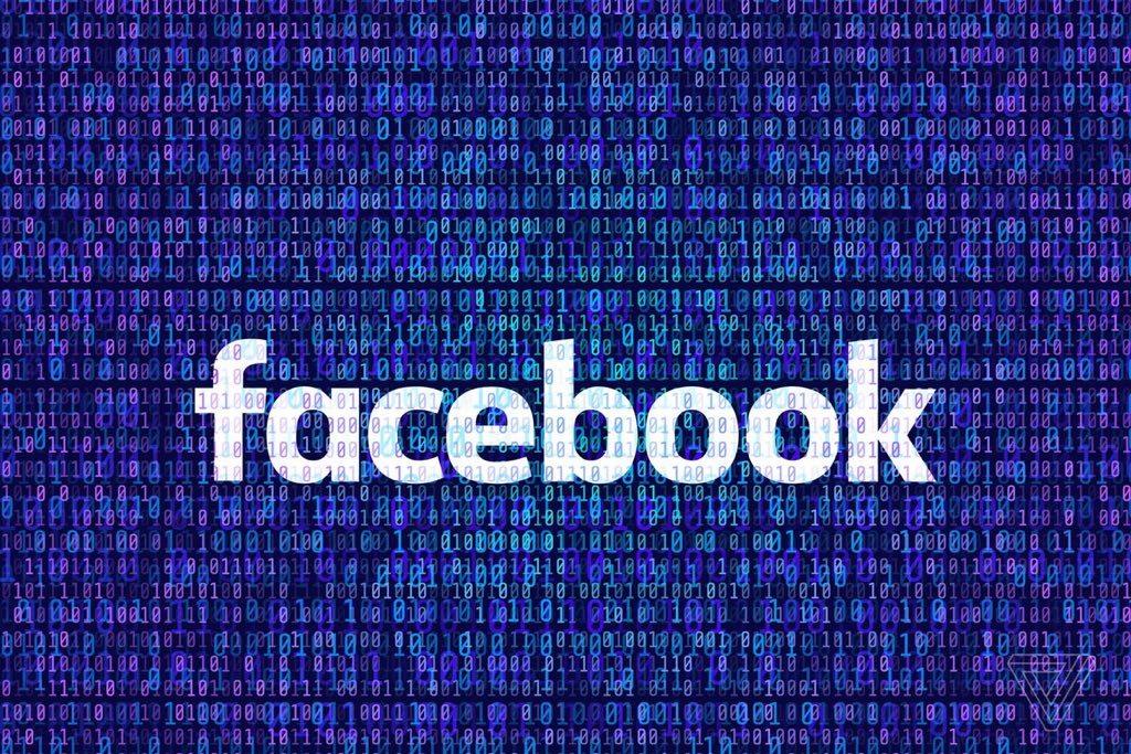 facebook logo con sfondo tipo matrix